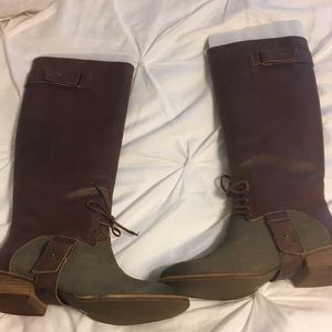 Brown, green lace up boots